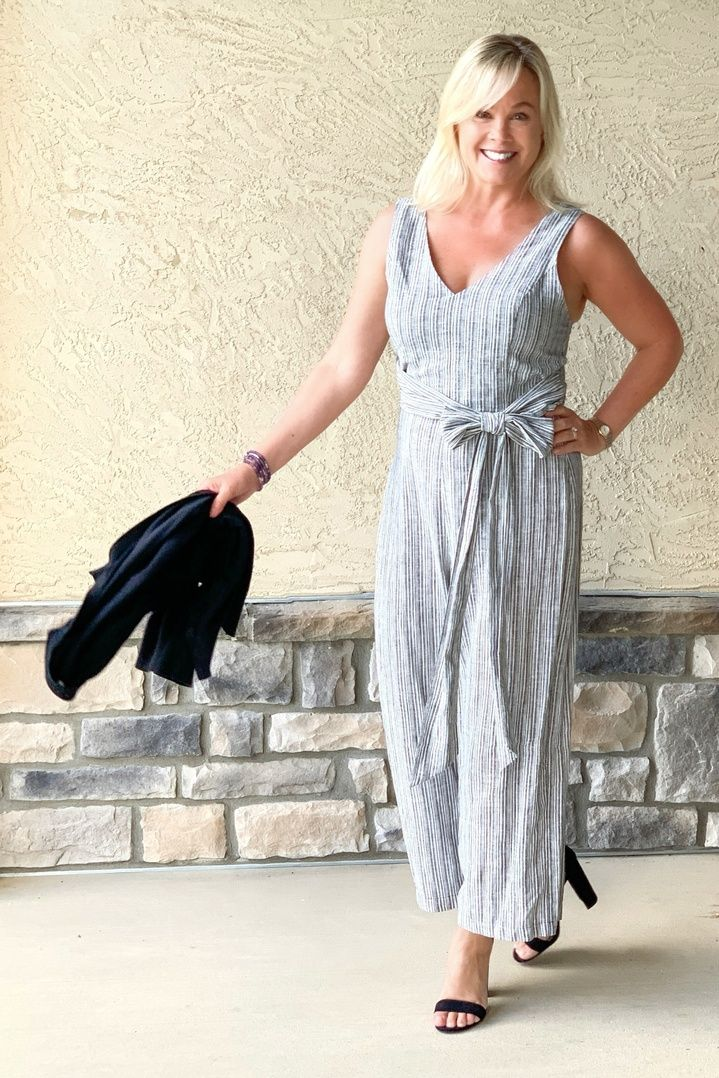 Trying to stay current and age appropriate isn't always easy but this jumpsuit fits the bill. It's comfortable and it's on sale!