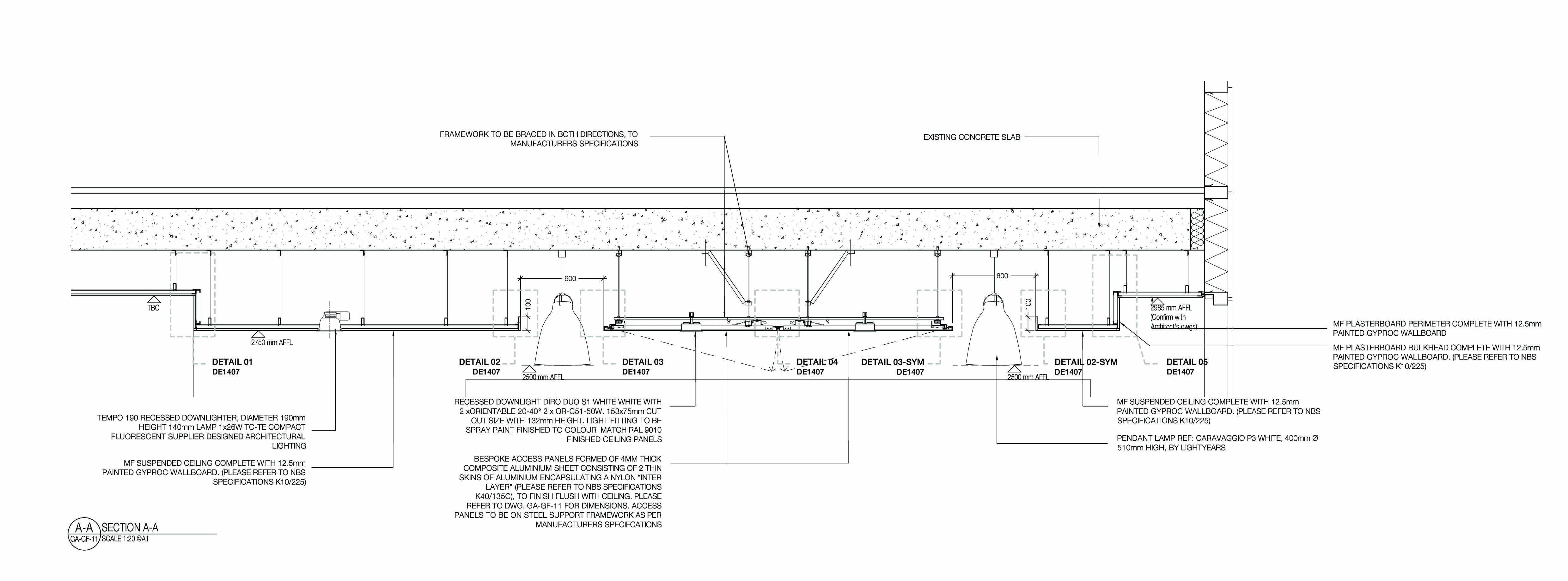 False Ceiling Plan Elevation Section : Bespoke ceiling raft details g pixel