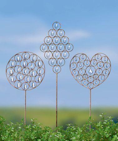 GR Jewel Garden Stake Set #zulilyfinds #GR #GrasslandsRoad #Metal #Acrylic #Gem #Heart #Circle #Diamond #Stake #Decor #Decoration #Pair #Set #Tall #Cute #Beautiful #Bronze #Bling #Sparkle #GiftIdea