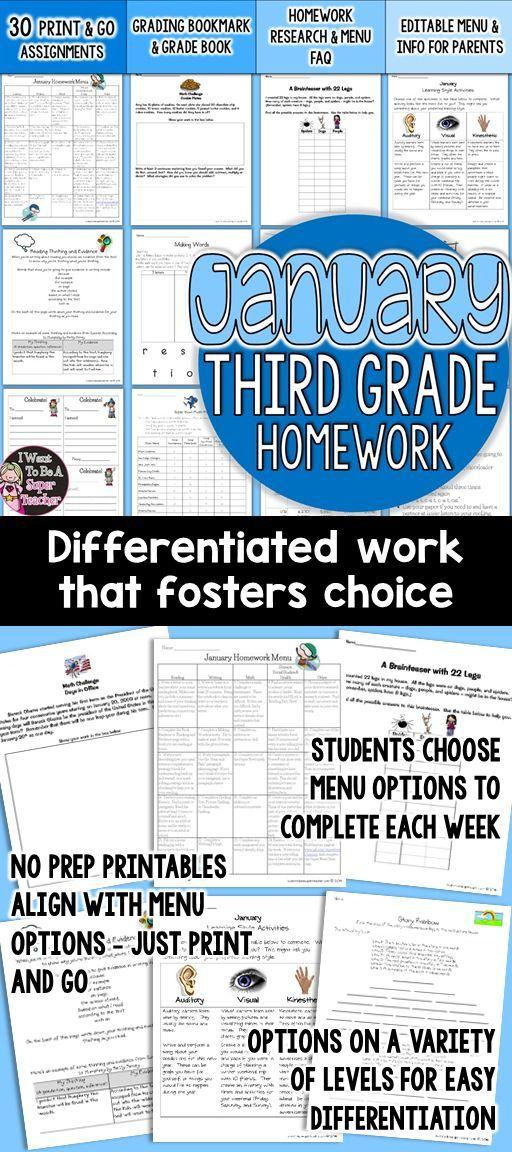 Third Grade Homework January {30+ NO PREP Printables & Editable ...