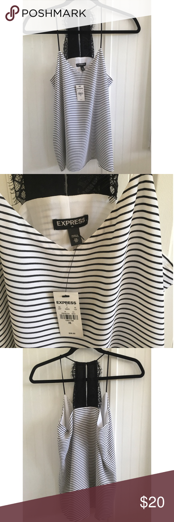 NWT Express Striped Cami Top New with tag. It is fully lined Cami Top with a lovely lace accent on the back. Express Tops Camisoles #stripedcamitops NWT Express Striped Cami Top New with tag. It is fully lined Cami Top with a lovely lace accent on the back. Express Tops Camisoles #stripedcamitops