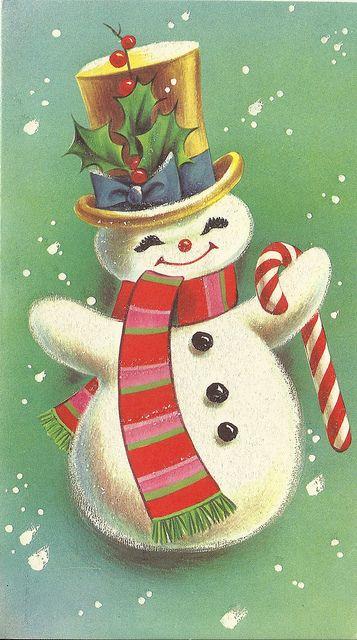 1968 snowman vintage christmas card flickr photo sharing