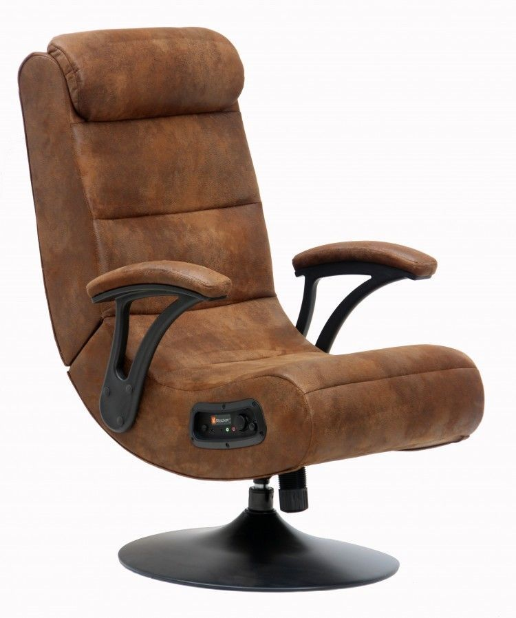 Gaming Chair Brown Suede Ergonomic 360 Swivel X Rocker With