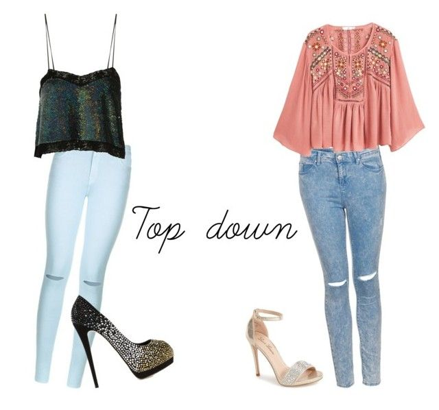 """""""5H-Top down inspired outfit"""" by arianatorforever13 ❤ liked on Polyvore featuring 7 For All Mankind, Topshop, Ashish, MANGO, Giuseppe Zanotti and Lauren Lorraine"""