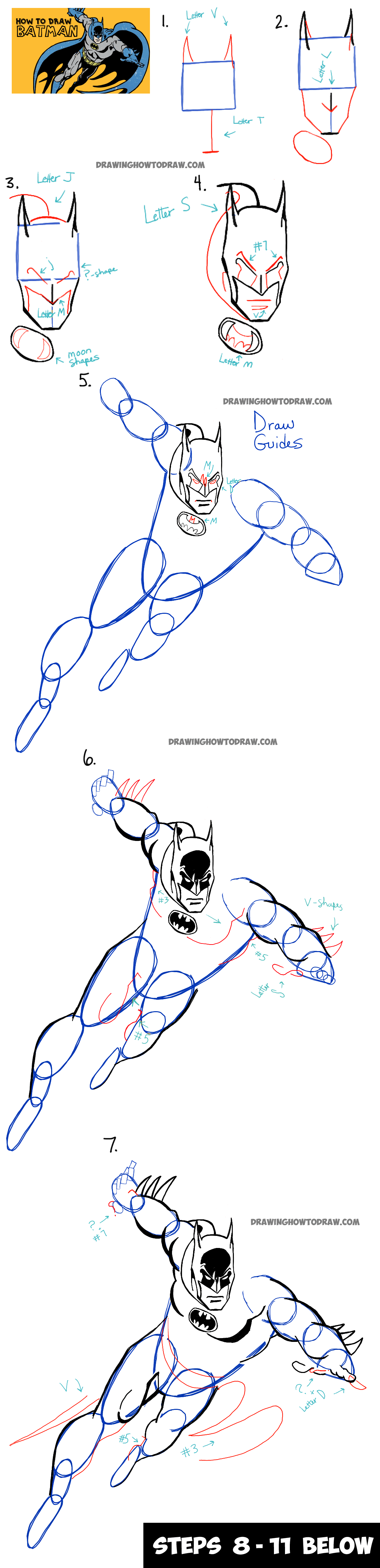 How To Draw Batman In Retro Dcics Style  Simple Steps Drawing Lesson
