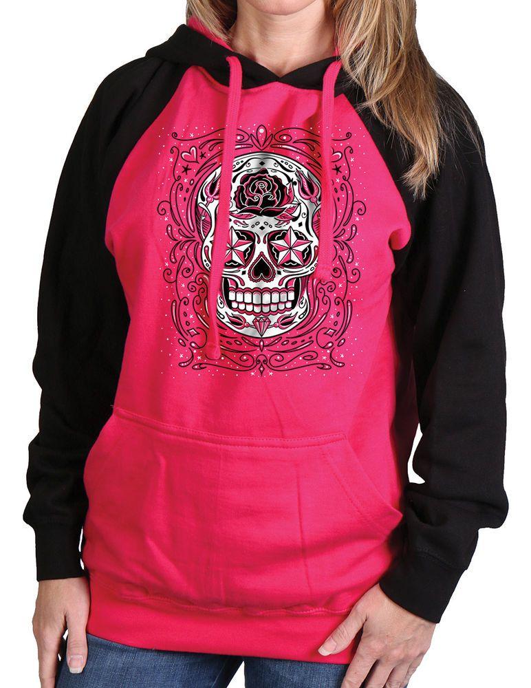 NEW NWT Women s Sugar Skull Raglan Hooded Sweatshirt Dark Pink   Black  X-Large  . Diseño Del CráneoCalaveras De AzúcarEstilo ... 036e13f0176