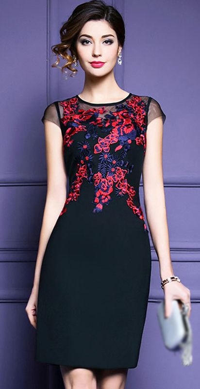 Elegant Embroidery O Neck Short Sleeve Bodycon Dress Vestidos Incriveis Roupas Chique Moda Feminina