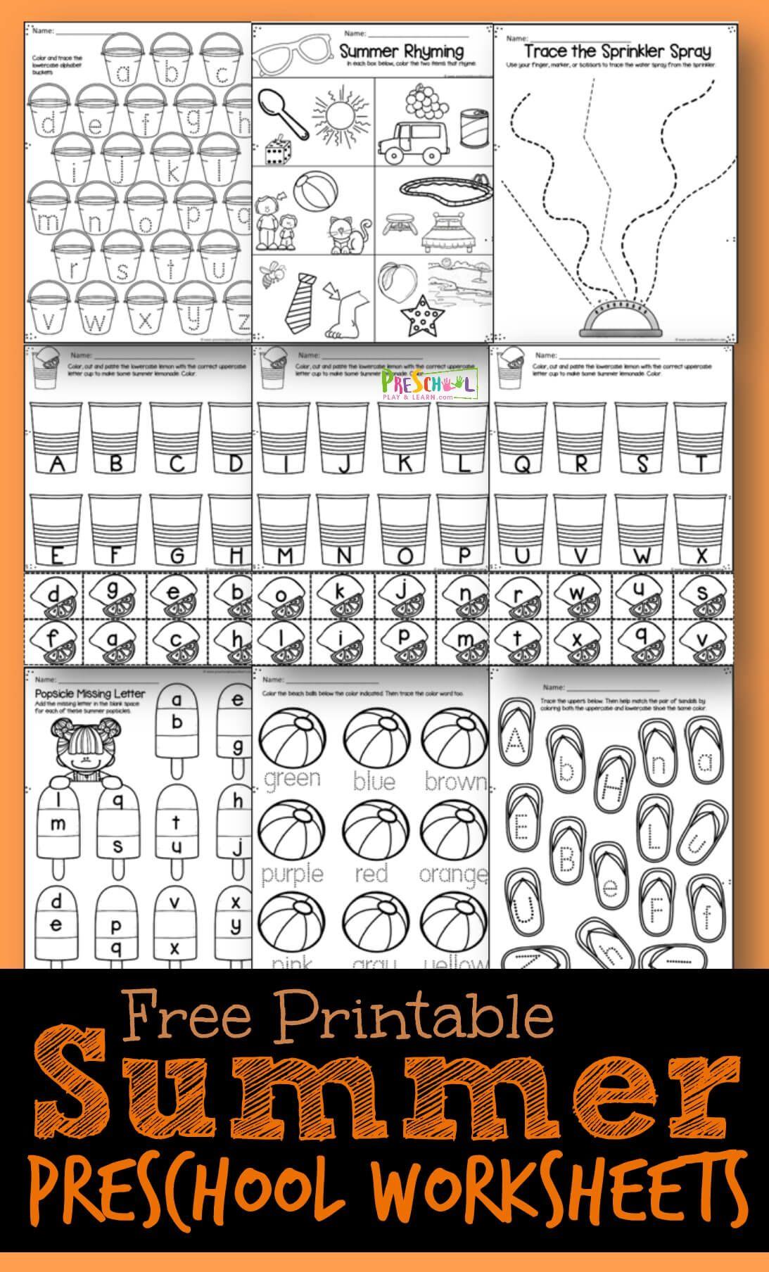 Summer Preschool Worksheets