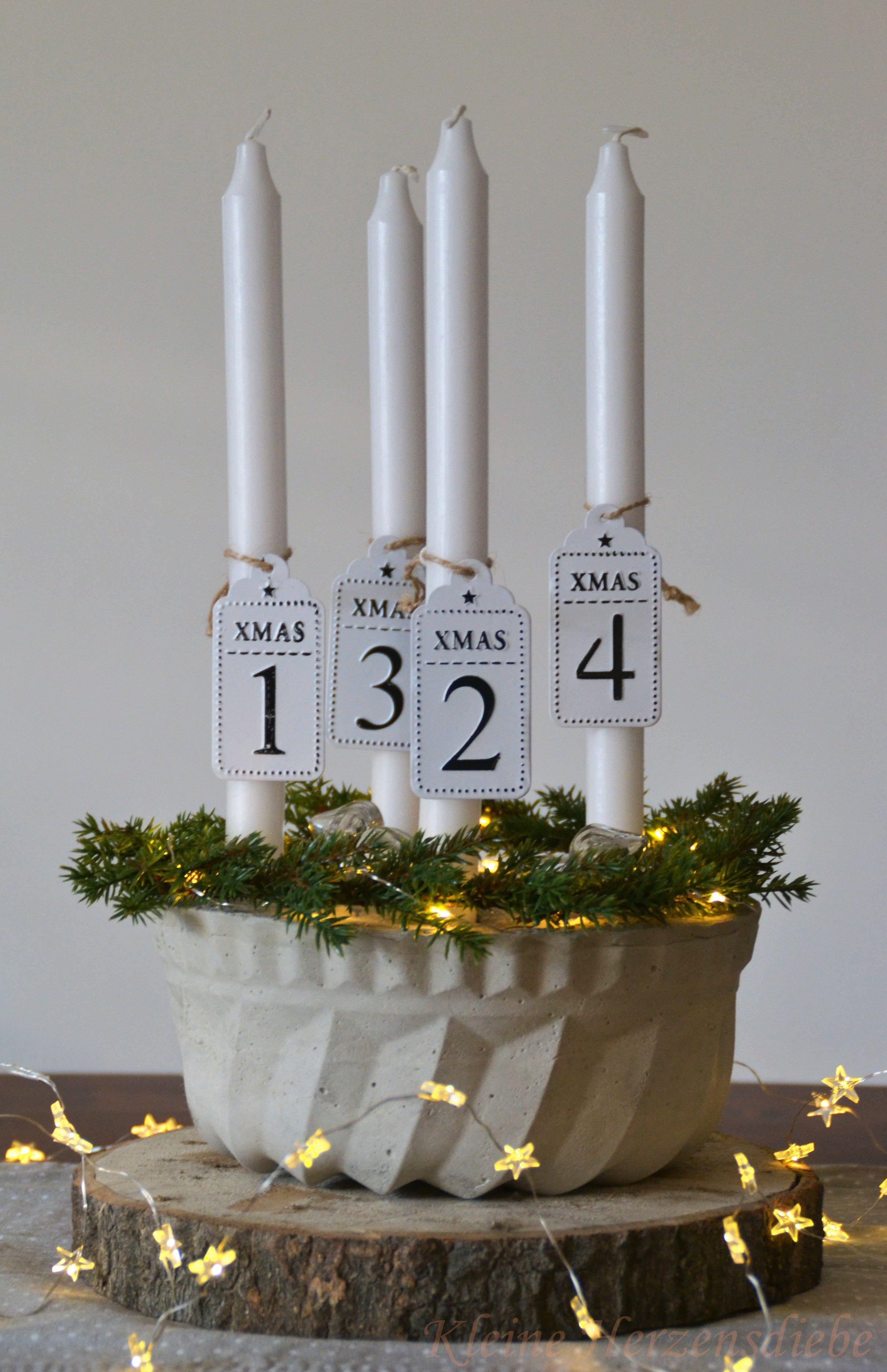 DIY: Adventskranz aus Beton basteln Selbst gemachte Weihnachtsdeko mit Kerzen, L… – Mein Blog