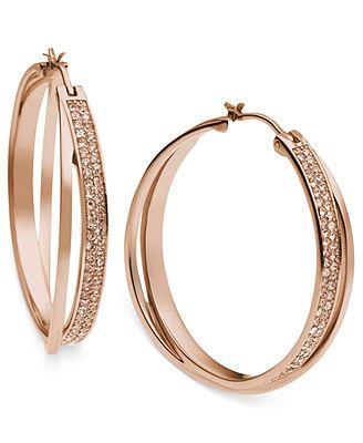 768694d99cee8 Michael Kors Rose Gold-Tone Quartz Pave Interlocking Hoop Earrings ...