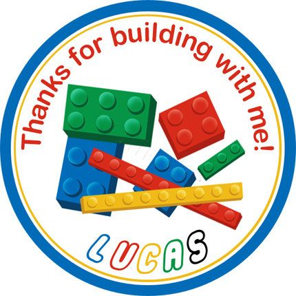 Building Blocks (Lego inspired) design.  Personalized stickers by partyINK.