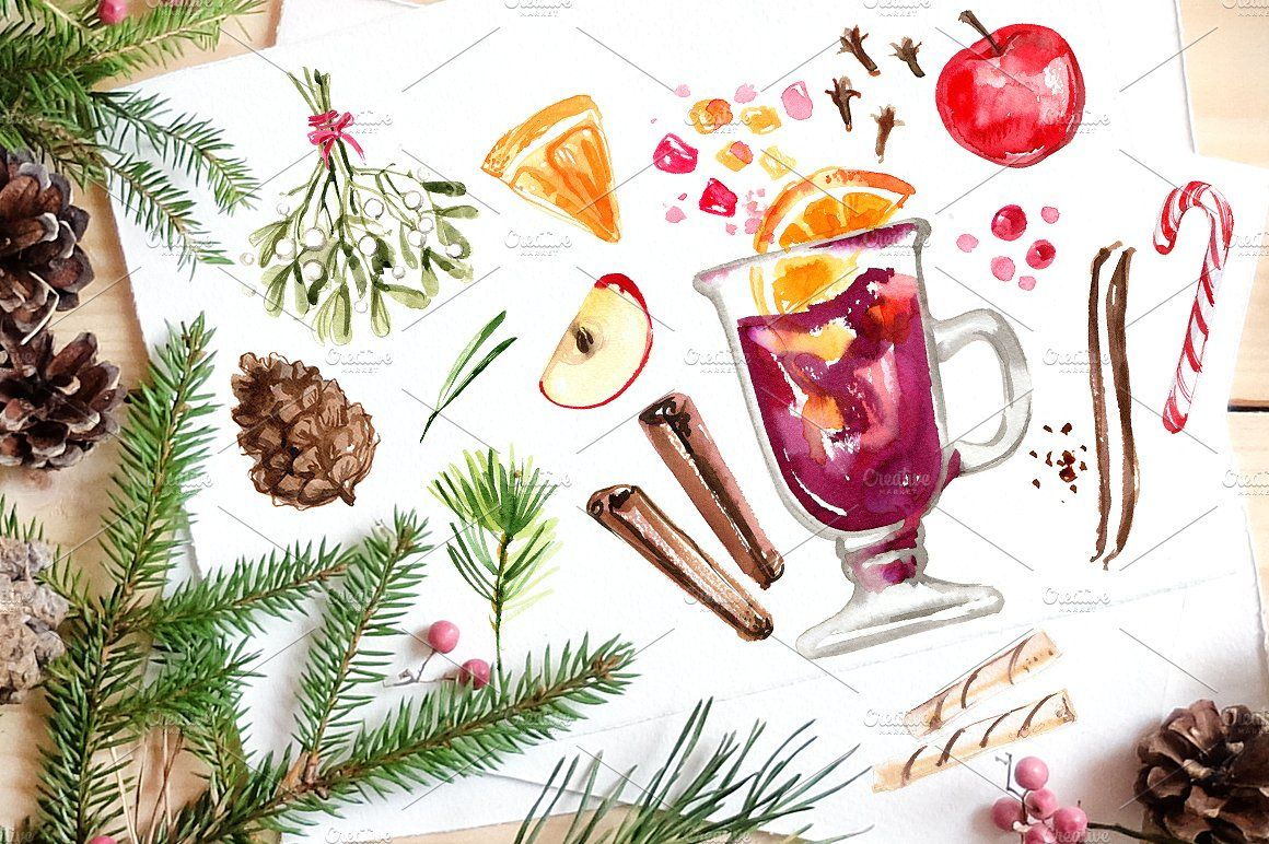 Christmas watercolors archivedpicturespngdrawings
