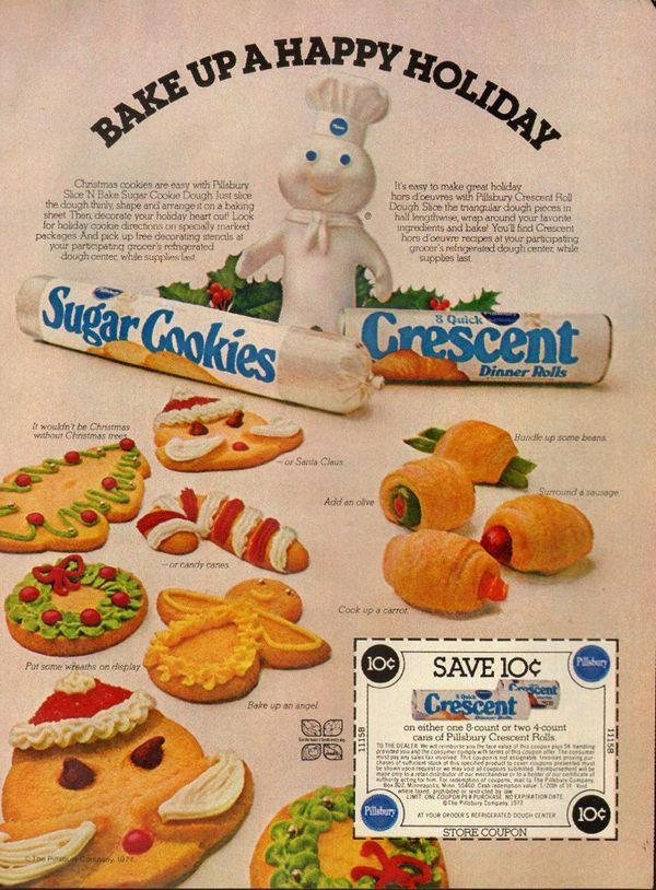 Vintage Pillsbury Ad With A Santa Cookie That Is Frankly A Little