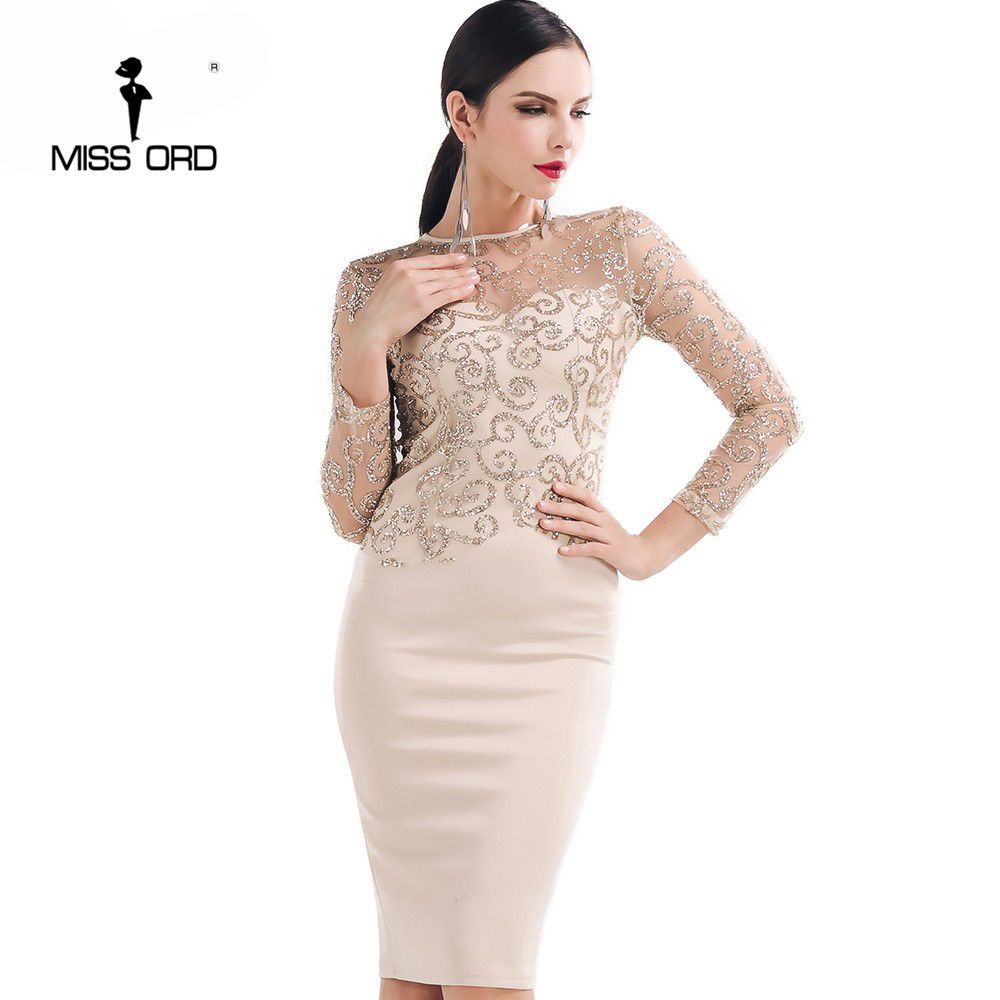 Missord flash sexy halter highnecked longsleeved sequin dress