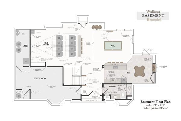 Basement Remodel Rustic Farmhouse Rendered Floor Plan Basement Bar Basement Media Room Base Custom Tile Design Bathroom Design Inspiration Basement Design