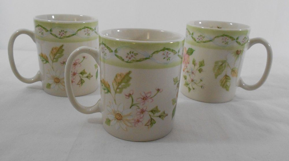 Tracy Porter Cottage Trellis Mugs Coffee Cups Set of 3 Floral ...