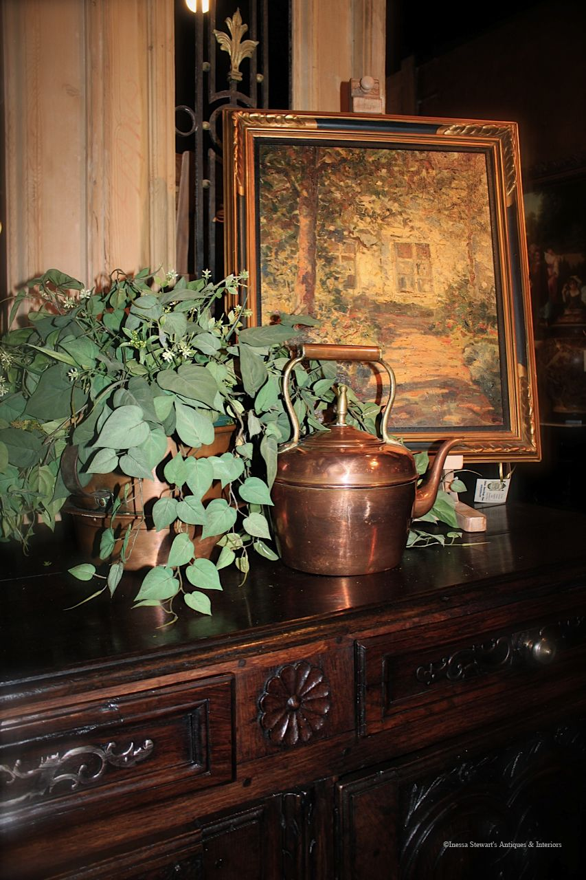 Antique painting, copper kettle on top of a buffet #antique #furniture