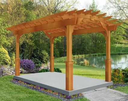 10 X 14 Red Cedar Arched Garden Pergola Free Standing Pergola Pergola Garden Structures