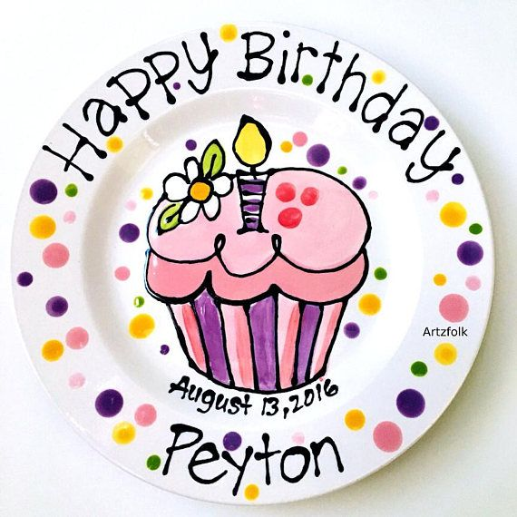 CUSTOM cupcake Large 10 or 7 Birthday Cake Plate Personalized colorful happy ceramic This piece is  sc 1 st  Pinterest & Personalized with name and date ceramic Birthday Plate daisy and ...