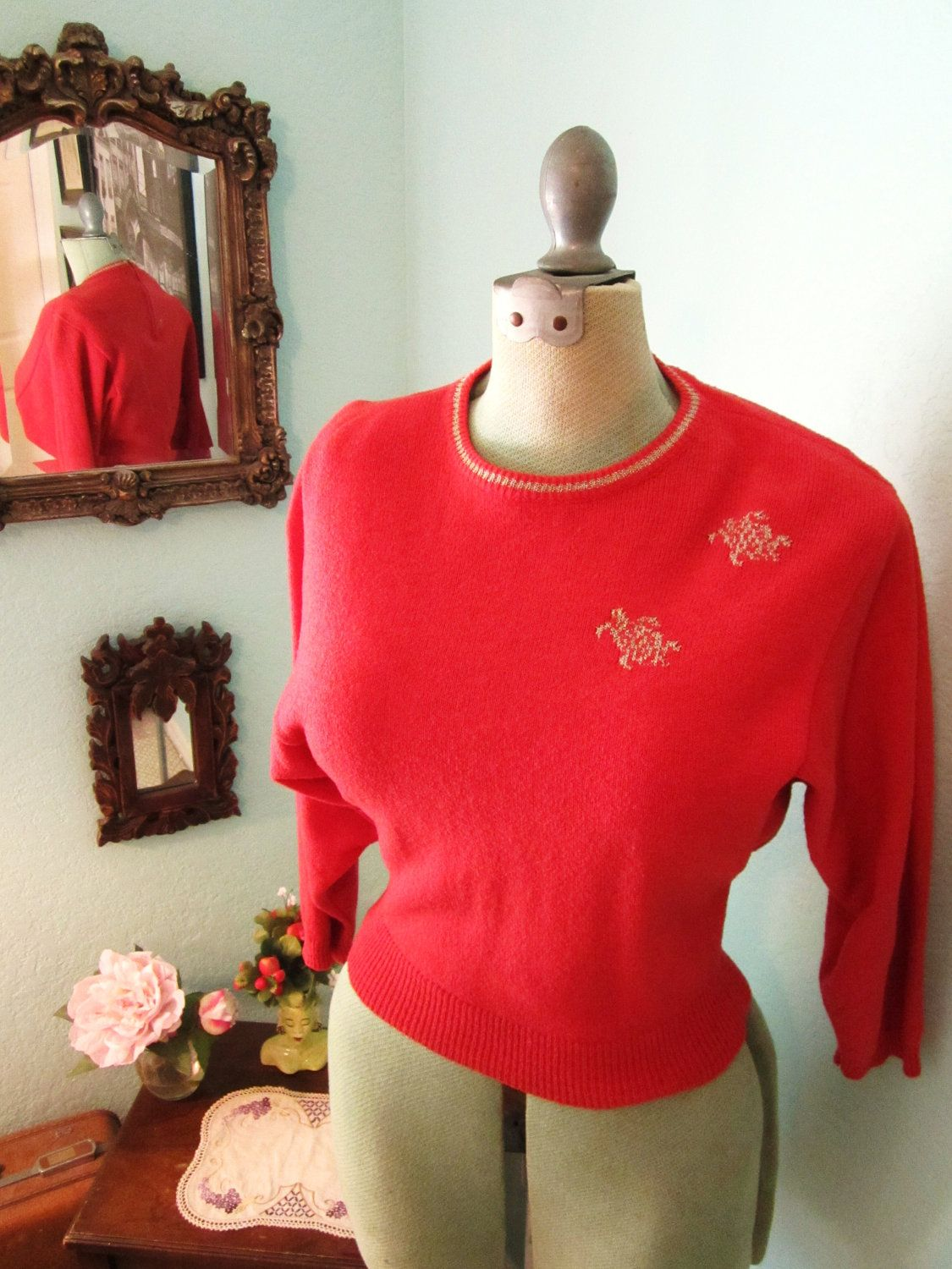 40s 50s Gold Turtle Print Cropped Pullover Knit Sweater in Coral S M. $75.00, via Etsy.