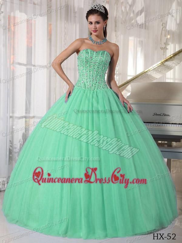 672f6eef2b2 Apple Green Ball Gown Sweetheart Floor-length Tulle Beading Quinceanera  Dress