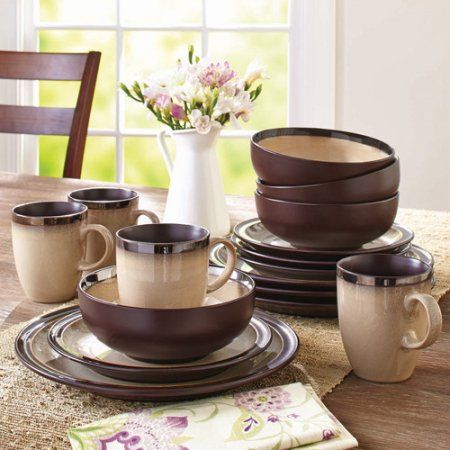 Better Homes and Gardens 16-Piece Sierra Dinnerware Set Beige - Walmart.com & Better Homes and Gardens 16-Piece Sierra Dinnerware Set Beige ...