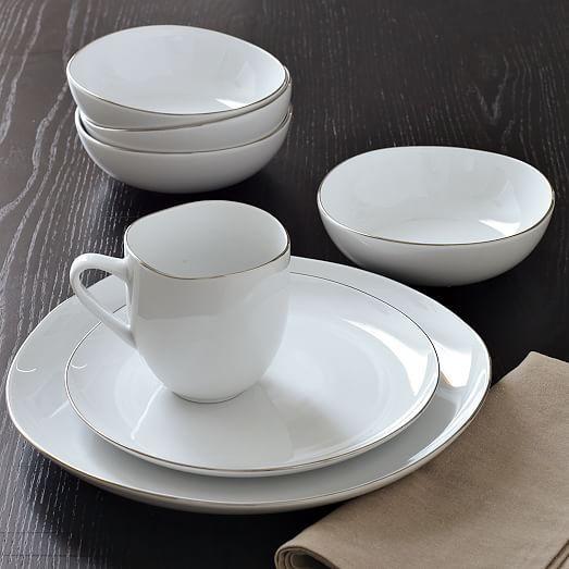 Organic Shaped Dinnerware Set - Metallic Rimmed & Organic Shaped Dinnerware Set - Metallic Rimmed | Dinnerware Dinner ...