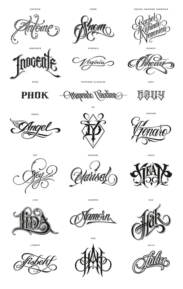 Tattoo Lettering With Designs