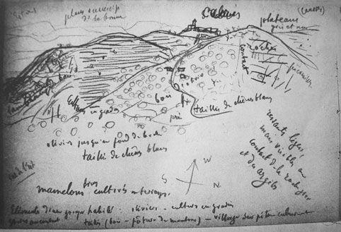 Fig. 4 - Cabris et le rebord des Préalpes de Grasse, vue de la route de Saint-Vallier-de-Thiey (vue de l'est)(Paul Vidal de La Blache, carnet n°26, p.53, avril 1907, © Bibliothèque de l'Institut de Géographie de Paris)