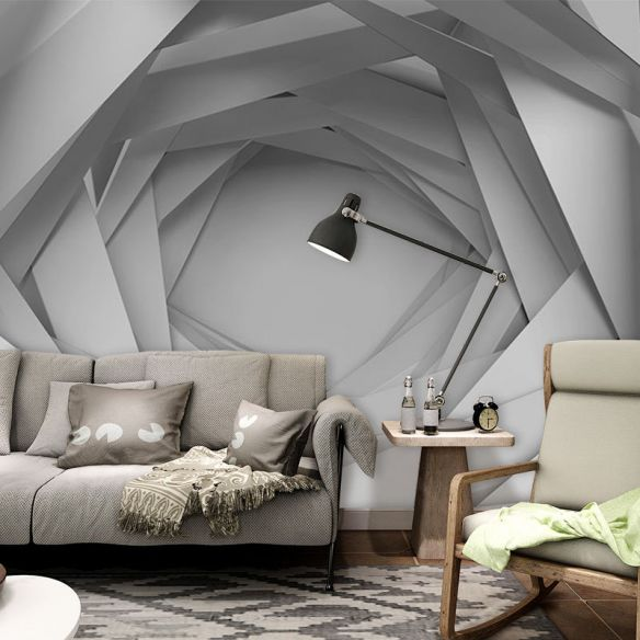 Whole 3d Visual Extensive Tunnel Mural For Office Room Fantasy Wall Decor In Grey White 144 X 100 Grey Wall Decor Room Design Bedroom Bedroom Interior