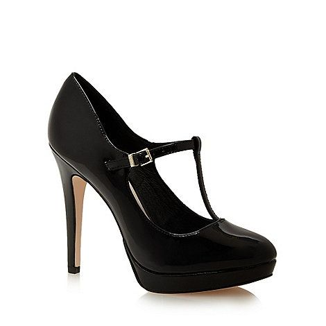 Faith Black Patent Christina High Platform Heel T Bar Shoes Debenhams