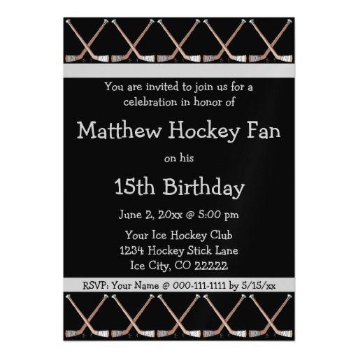 Hockey Sticks Birthday Party Invitation Custom 2 Hockey Party