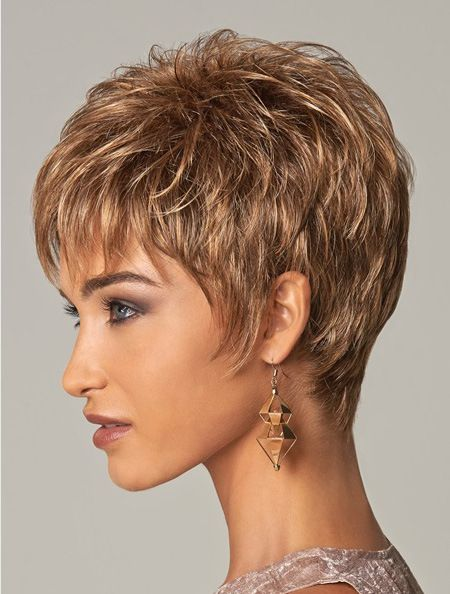 stylish blonde curly cropped synthetic