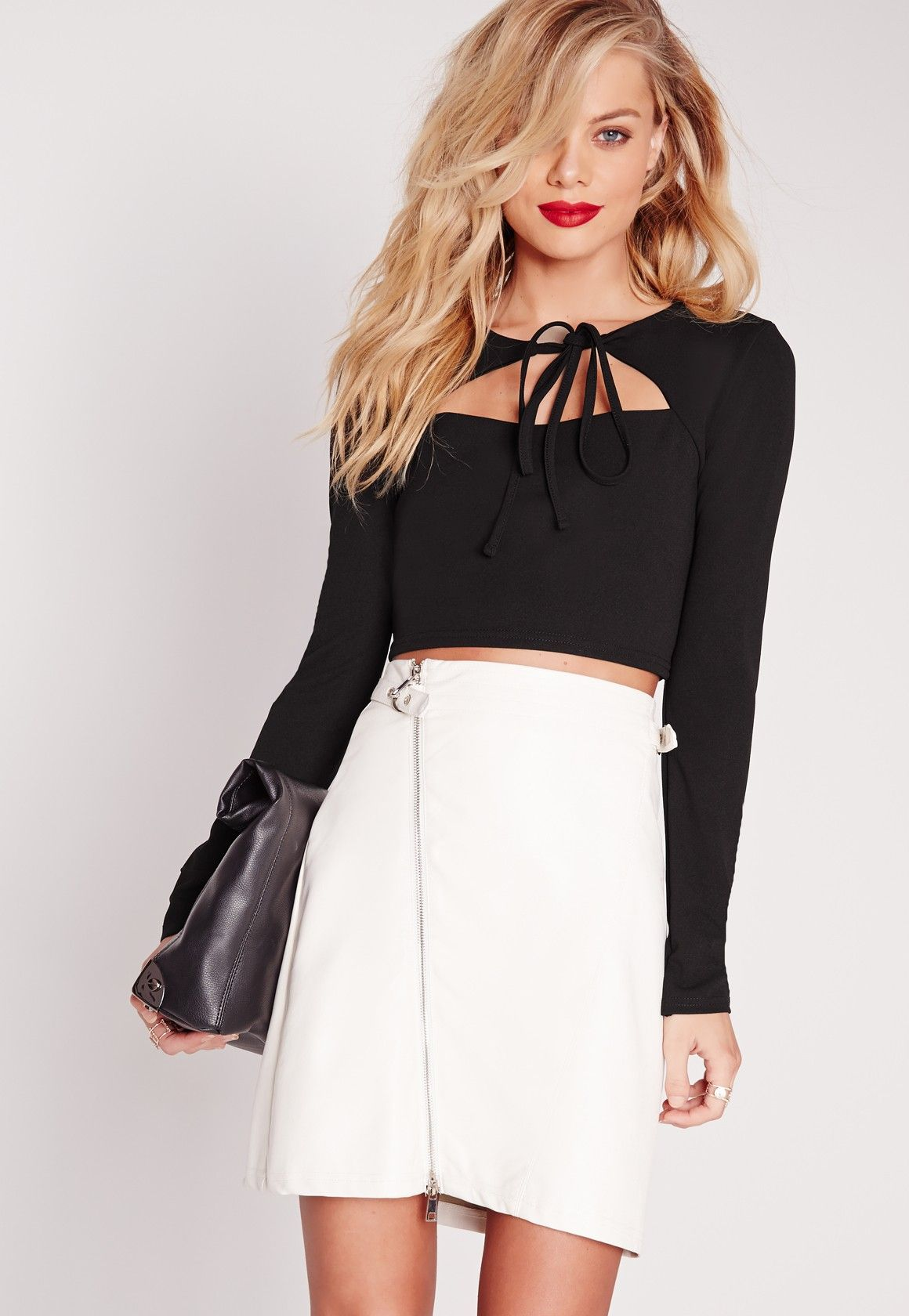 b67a8a598 Misguided Tie Front Cut Out Crop Top Black   glam chic   Fashion ...
