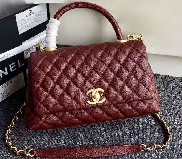 ce8dd31829fb Chanel Burgundy Calfskin Lizard Coco Handle Small Bag - Bella Vita Moda   chanel  chanelbag  chaneltophandle  chanellover  chaneladdict   chanelforsale ...