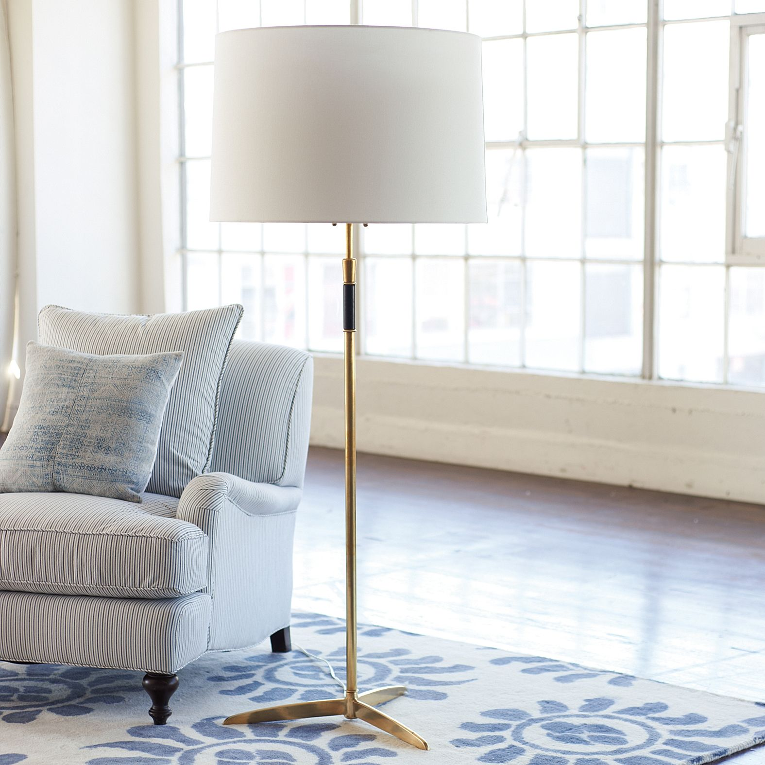 Cole Brass Floor Lamp Serena & Lily Sofa floor lamps