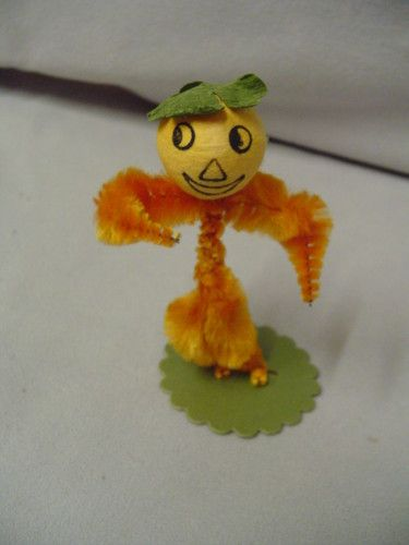 "Halloween Jack O Lantern Man Spun Cotton Chenille Around 3"" Tall Vintage 