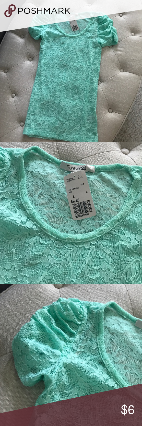 Brand new mint laced top Brand new top. Super cute Forever 21 Tops