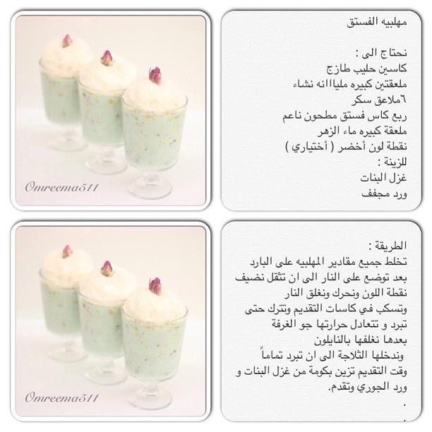 مهلبية الفستق Arabian Food Desserts Arabic Food