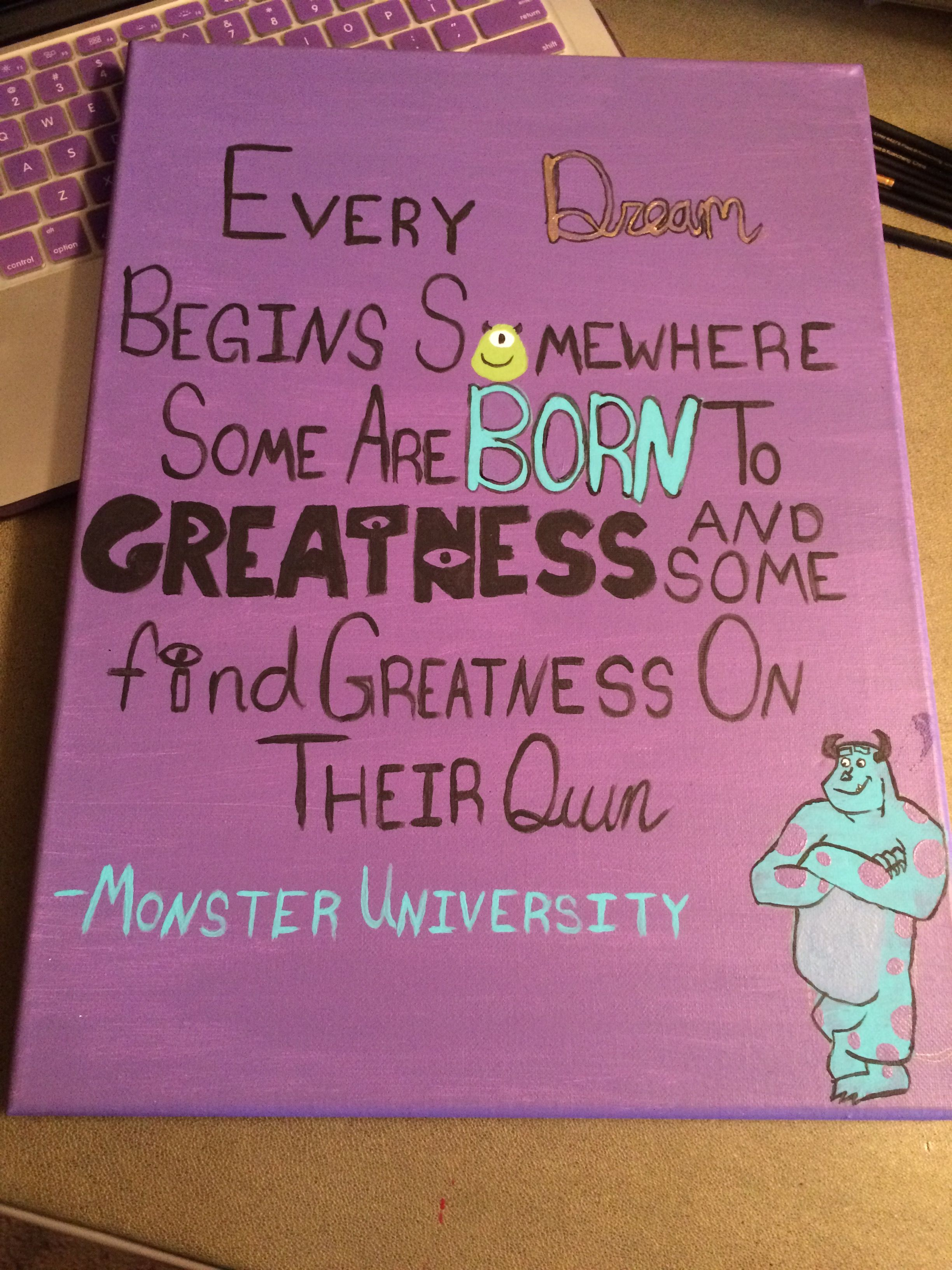 Monster University canvas quote Sulley …   Paintings   Disne…