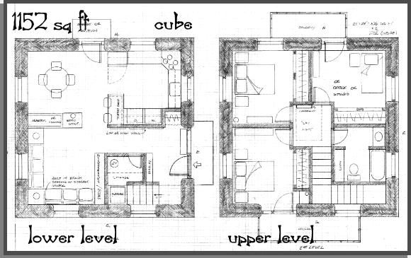 1152 sq ft straw bale cube 2 story home pinterest for Cube home plans