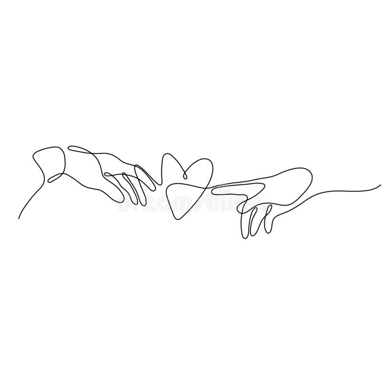 One line woman with heart love symbol. Continuous hand drawn minimalism, vector illustration