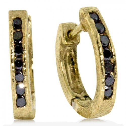 df4f3eabd 18ky Gold Hinged Hoop Earrings with Black Diamonds by Rona Fisher ...