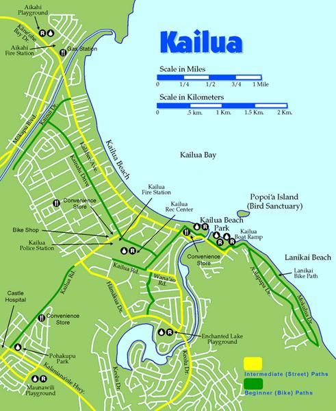 Kailua Bike Map Kailua Beach Hawaii Adventures Beach