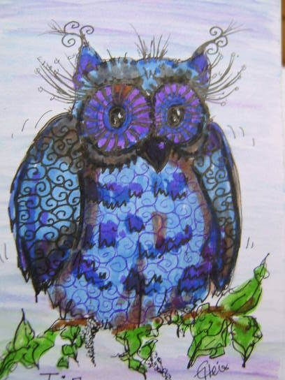 Eule,blau,Tja ich weiss nicht - OHRringe ♥Zierlich ♥ von kunstpause - Weiteres - Malerei & Collagen - DaWanda