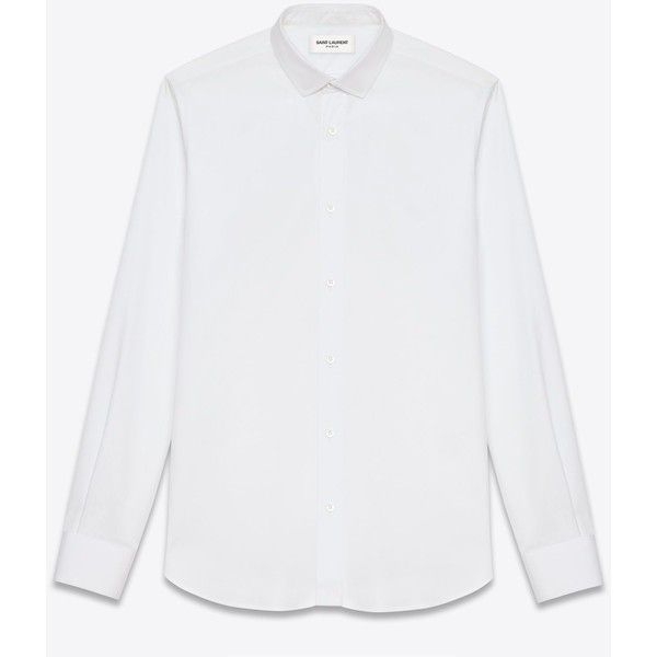 Saint Laurent Signature Dylan Collar Shirt ($500) ❤ liked on Polyvore featuring men's fashion, men's clothing, men's shirts, men's casual shirts, white, mens button front shirts, mens long sleeve cotton shirts, mens short sleeve casual shirts, yves saint laurent mens shirt and mens longsleeve shirts