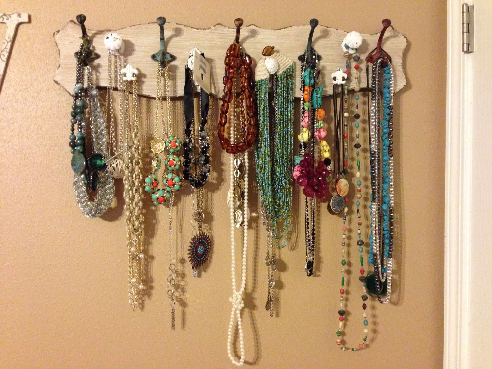 Jewelry organizer hobby lobby coat hook board with added knobs