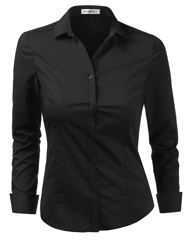 Womens Basic Stretchy Cotton Button Down Shirts With Plus Size -  Cwtdsl01_black - CA180Z32UMI | Black button shirt, Button up shirt womens,  Black shirts women