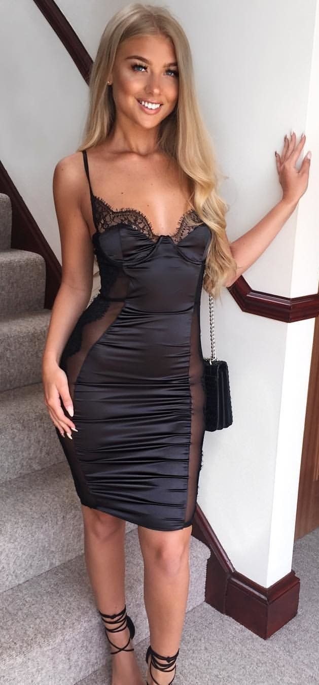 3cd15ac39  summer  outfits Little Black Dress + Black Sandals Vestidos Ajustados