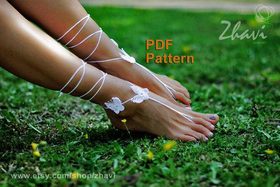 Pdf Crochet Pattern Butterfly Barefoot Sandals Pattern 7 Bridal